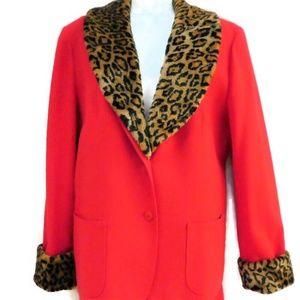 Pendleton Vintage Pant Suit Leopard Collar Blazer